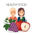 young women with fruits healthy food vector image vector image