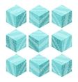 Cartoon Isometric ice game brick cubes set vector image