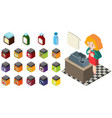 3d design for shopkeeper and different products vector image vector image