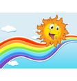 A sky with a rainbow and a happy sun vector image vector image