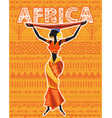 african woman in ethnic dress on geometric vector image vector image