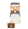 arab with suitcase on white background vector image vector image