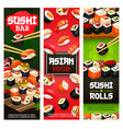 asian sushi food japanese seafood and fish rolls vector image vector image
