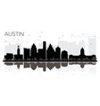 austin texas city skyline black and white vector image vector image