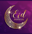 beautiful gold moon eid mubarak festival greeting vector image vector image