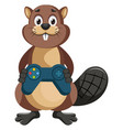 beaver with gamepad on white background vector image vector image