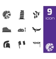 black italian icons set vector image vector image