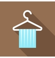 Blue scarf on coat hanger icon flat style vector image vector image