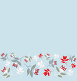 blue winter folk florals seamless border pattern vector image vector image