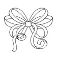 bow outline symbol of ribbon tied in knot vector image vector image