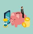 businessman piggybank time mobile coins money vector image vector image