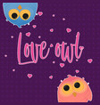 cartoon couple owl girl and boy vector image