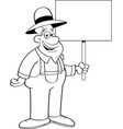 cartoon farmer holding a sign vector image vector image