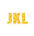 cheese font 3d symbol letter j k l set vector image
