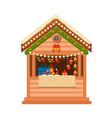 christmas wooden souvenir kiosk vector image