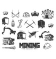 coal mining industry equipment and machinery icons vector image