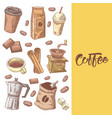 coffee hand drawn doodle with beans vector image vector image
