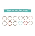 Colorful circle and heart floral frames vector image vector image