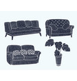 comfortable black furniture icon set vector image
