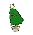comic cartoon dancing christmas tree vector image vector image