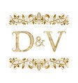 d and v vintage initials logo symbol the letters vector image vector image
