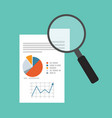 data analysis with magnifying glass vector image vector image