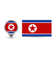flag dprk location point with north vector image
