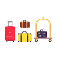 icons of bags and suitcases with hotel cart vector image vector image