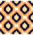 Ikat geometric seamless pattern Orange and blue vector image vector image