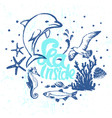 ink hand drawn sea inside card with marine flora vector image vector image
