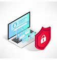 isometric internet security laptop isolated vector image vector image
