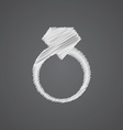 Jewelery ring sketch logo doodle icon vector image