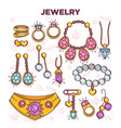 jewelry items flat set isolated on white vector image vector image