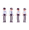 male and female security guard front and rear vector image