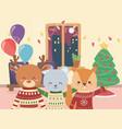 Merry christmas celebration cute bear deer and