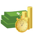 Money and stopwatch vector image