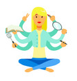 multitasking housewife sitting in a lotus pose on vector image