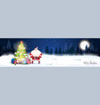night winter forest landscape with glowing vector image vector image