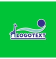 paper sticker on stylish background giraffe logo vector image vector image