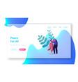 peace love relation togetherness landing page vector image vector image