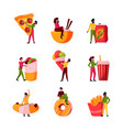 people and junk food characters holding big trash vector image vector image