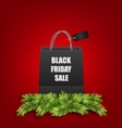 Sale Shopping Bag with Fir Twigs for Black Friday vector image