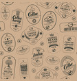 seamless pattern with coffee labels in retro style vector image vector image