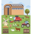 Set flat icons on farming and agriculture theme vector image