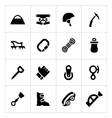 Set icons of mountaineering vector image vector image