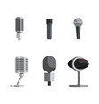 set microphone collection in flat style vector image