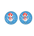 set of winter holidays snowman cheerful snowmen vector image vector image