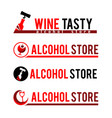 set sign black corkscrew and a bottle red wine vector image
