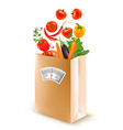 Shopping bag with healthy fruit and a scale vector image vector image