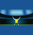 soccer player celebrating goal on a soccer stadium vector image vector image